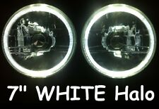 "WHITE 7"" Round LED Ring Halo Angel Eye Headlights Head Lights H4 Semi Sealed"