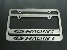 2 FORD RACING STAINLESS STEEL Chrome License Plate Frame + Screw Caps