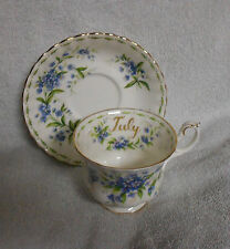Royal Albert Flower of the Month July  Blue And White Cup and Saucer  1970