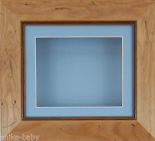 Small Rustic Pine Deep Box Display frame Medals 3D 2D Objects Cast Baby Boy Blue