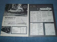 "1973 Renault 17 Vintage Road Test Info Article ""More Sporting Performance..."""
