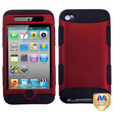 Red Black Hard & Soft Rubber Armor Impact Hybrid Case Cover - iPod Touch 4th Gen