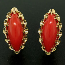 Vintage 14k Yellow Gold Marquise Cabochon Natural Red Ox Blood Coral Earrings
