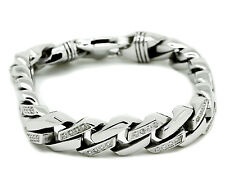 Mens CZ White Stainless Steel Cuban Bracelet Link Cubic Zirconia Miami Jewelry