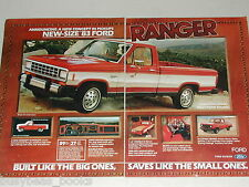 1983 Ford 2-page advertisement, Ford Ranger Pickup Truck, new smaller Pick-up