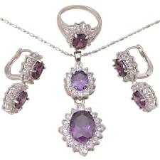 JS407 #7 Gorgeous Amethyst Silver Feshion Jewelry Set Earring Necklace Ring
