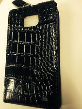 Samsung Galaxy SII i9100 Fitted Leather Flip Case Crocodile Skin Black.Brand New