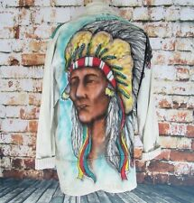 Vtg Women's ACID Stonewash Wash Native American Air Brush Denim Jean Jacket M