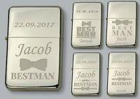 BEST MAN Personalised  Petrol LIGHTER  - FREE Engraved - WEDDING GIFT
