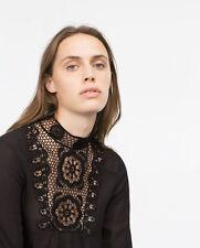 Zara Woman guipure blusa s 36 Black negro hakel Lace crochet