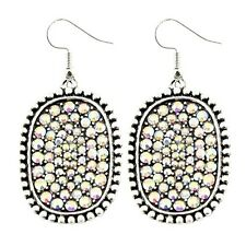White Iridescent Rhinestone Pave Oval Disc Large Earrings Stud Burnished Silver