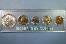 1969  KENNEDY SILVER HALF DOLLAR, U.S. 5-COIN MINT SET, Unc. in Display Case