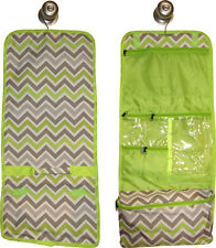 Hanging Travel Cosmetic Bag (green/gray chevron) great for travel or home!