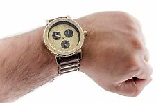 Hip Hop Watch Big Iced-Out Bling Gold Tone Chronograph Mens Silicone Bullet Band