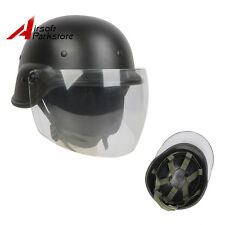 Tactical Airsoft Paintball M88 PASGT Kelver Swat Helmet with Clear Visor Black