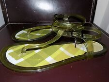 Green BURBERRY Italy T-Strap Jelly Nova check Flat Sandals US 7.5-8 EUR 38