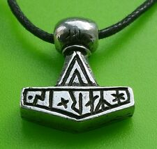 "Small ""Hammer Is"" Viking Mjölnir Danish Thor's Hammer Pewter Pendant Necklace"