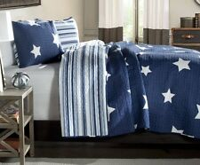 BLUE & WHITE STAR Twin Single QUILT SET : COTTON STRIPE COUNTRY CABIN BOYS BED