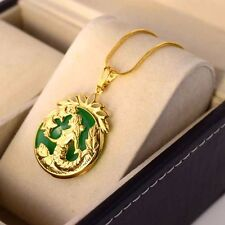 """24K Yellow Gold Filled Pendant Necklace Mermaid Gems 18""""chain Link GF Jewelry"""