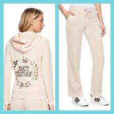 New Women's Juicy Couture Tracksuit Bling Velour Hoodie Bootcut Pants 2pc Medium