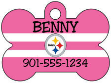 NFL Team Pink Dog Tag Pet ID Tag Personalized w/ Your Pet's Name & Number