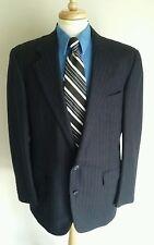 Club Room Suit Jacket Mens 44L Wool Blend Navy Blue Pinstripes Japan