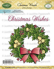 JUSTRITE CLING Rubber Stamps CHRISTMAS WREATH CL-02058 Christmas Wishes