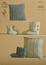 KNITTING PATTERN Cable Cushion & Childrens/Adults Hugboot slippers Aran KC 3471