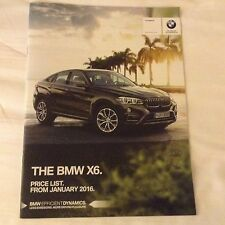 BMW X6 2016 SALES BROCHURE / PRICE LIST BRAND NEW