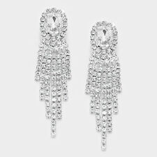 Clear diamante clip on earrings sparkly rhinestone prom party bridesmaid 0383