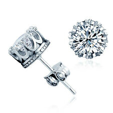 Chic Silver Plated Brilliant Cut Clear CZ Ear Crystal Stud Crown Earrings