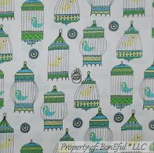 BonEful Fabric FQ Cotton Quilt White Green Blue Love Bird Sweet Cage House Retro