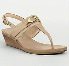 COACH DESPINA  SIGNATURE LIGHT KHAKI LEATHER WEDGE SANDAL WM 7/M NIB