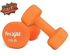 Yes4All Hand Exercise Neoprene Coated Pair Dumbbell Weight 15 lbs - ²DABMH5