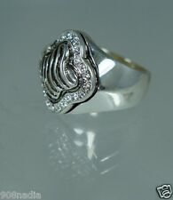 """VINTAGE SI;VER PLATED,RHINESTONE OR CRYSTAL MODERNIST SIGNED """"BEST"""" RING SIZE 6"""