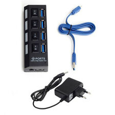 Premium USB 3.0 Hub mit 4 Ports On/Off Schalter + US Stecker + blau USB3.0 Kabel