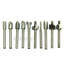 """10pcs 1/8"""" 3mm HSS Router Bits Wood Cutter Milling Fits Dremel Rotary Tool Set"""