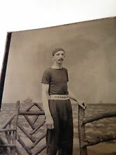 Antique Tin Type Photo Male Swimmer with Swimming Cap and Reverse Name Belt