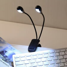2 Dual Flexible Arms 4 LED Clip-on Light Lamp for Piano Music Stand Book OY