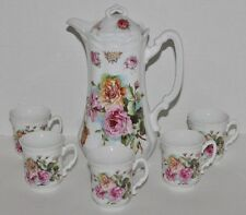 VTG Three Crowns China Chocolate Pot Set -Floral- Coffee - Handpainted - Germany