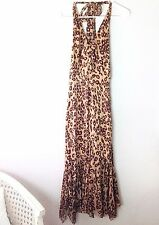 KAREN MILLEN Brown Leopard SILK Halter Midi Dress SZ 8 Flounce VLV PinUp Retro
