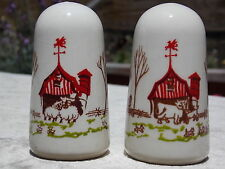 Salt & Pepper Shakers Cottage Farmhouse Barn Fence Trees Cow Sheep Dogs Ceramic