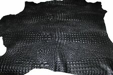Italian Lambskin leather skins hides BLACK ALLIGATOR CROCODILE EMBOSSED 9+sqf