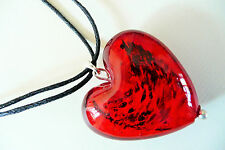 SILVER NECKLACE - LARGE DEEP RED PUFFED HEART_FOILED GLASS & DARKER DETAIL - NEW
