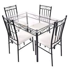 5 PCS Dining Set Glass Metal Table and 4 Chairs Kitchen Breakfast Furniture