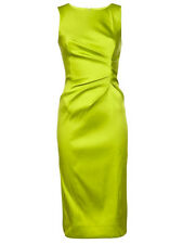 Oscar de la Renta Citrine Green Stretch Satin Sleeveless Dress 10  UK 14 NWT $2K