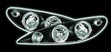 Black LED Twin Halo Ring Projector Headlights to fit: PEUGEOT 206