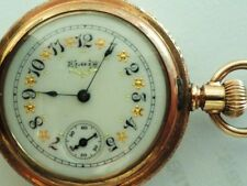 1896 ELGIN 0s 7JEWEL POCKET WATCH FANCY DIAL GRADE 109 MODEL 1 FULL HUNTER CASE