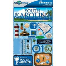 Scrapbooking Crafts Stickers 3D South Carolina License Plate Palmetto Lighthouse
