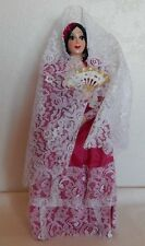 "12"" Hard Plastic Spanish Doll w/ Hot Pink Sateen Dress, White Lace Veil Fan"